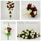 Silk Wedding Flowers by Petals Polly, BOUQUET/POSY/BUTTONHOLES in BURGUNDY/IVORY