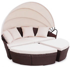 Rattan Outdoor Garden Bali Day Bed Patio Sun Lounge in Black, Brown, Grey