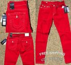 NEW True Religion Jeans Geno Relaxed Slim Red Brand New ME08NVQ6 Free Shipping