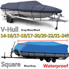NEW BOAT COVER 14' 17' 24' FT V-HULL for BASS RUNABOUT BOAT GRAY STORAGE COVERS