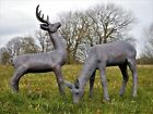 Magnificent Large Bronze Effect Resin Stag & Doe Sculptures Garden Statues