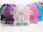 Portable Rechargeable Led Fan Air Cooler Mini Operated Desk USB +18650 Battery