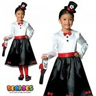 Girls Victorian Nanny Costume Childs Fancy Dress World Book Day Week Kids Outfit