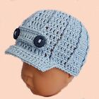 BABY BOY NEWSBOY CAP CROCHETED HAT peaked baseball photoprop blue shower gift