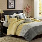 Luxury6pc Yellow Grey Embroidered Duvet Cover Bedding Set AND Decorative Pillows