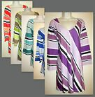 Womans 5X V Neck Diagonal Striped Cotton Blend 3/4 Tunic Tee New in Package