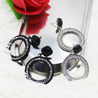 Fashion Women Bohemian Crystal Circle Ring Drop Dangle Stud Earrings Jewelry