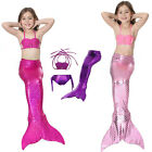 Kids Girls Mermaid Tail Swimwear Swimsuit Swimming Costumes Bikini 3pcs Set