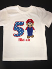 Mario Embroidered Birthday Shirt 1st, 2nd, 3rd, 4th, 5th Personalized