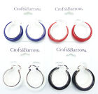 Fun & Colorful New Summer Hoop Earrings in Red,Blue,Black & White NWT #E1252