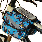 "Bicycle Bike Front Frame Tube Dual Saddle With 4.7"" Phone Touch Screen Bag Pouch"