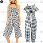 Womens Ladies Off The Shoulder Peplum Frill Palazzo Strappy Checked 3/4 Jumpsuit