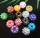 16Pcs 15Color Resin Twinkling Disco Ball AB Crystal Spacer Beads 14x12mm