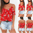 Women Casual Floral T-Shirt Off Shoulder Strappy Beach Tops Chiffon Blouse