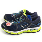 Mizuno Wave Sky 2E Navy/Silver/Lime Smooth Ride Wide Running Shoes J1GC171105