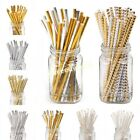 25PCS Gold Drink Paper Straws Birthday Party Supplies Theme