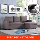 3 Three Seater Corner Futon Sofa Bed w/ Storage Chaise Couch Lounges Suite Set