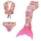 3pcs set Beautiful Kids Girls Mermaid Tail Swimwear Swimsuit Swimming Costumes