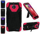 For Motorola MOTO E4 2017 Tough Dual layer Armor T kickstand Hybrid Cover Case