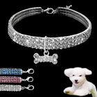 3 Row Rhinestone Dog Puppy Necklace Crystal Collar with Bone Pendant Small Dogs