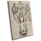 Rabbit Hare Shabby Clocks Old Animals SINGLE CANVAS WALL ART Picture Print