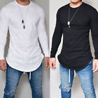 Mens Longline curved hem T-shirt Top Hip Hop Swag Long Body Tee Tall Elongated