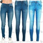 Womens Ripped Faded Front Pocket Zip Up Distressed Ladies Skinny Fit Denim Jeans