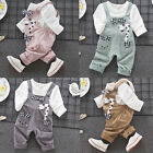 2PCS Toddler Baby Kids Boys Girl T-shirt Tops+Bib Pants Trousers Outfits Clothes