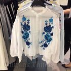 ZARA NEW A/W 2017. BLUE FLORAL MAO SHIRT TOP WITH EMBROIDERED BIB. REF 0881/004.