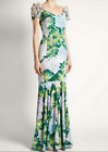 17 occident runwy long Printing V collar fishtail dress 3D adornment perfect new