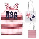 Gymboree 10 12 RED WHITE & CUTE USA TANK TEE GLITTER STAR TOTE PURSE 4TH OF JULY