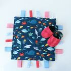 PERSONALISED Ribbon Tag Blanket - SEA LIFE & FISH Fabric -Comforter -Taggy