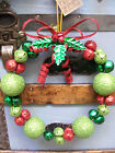 "NWT 10"" Cherry RED Lime & Emerald GREEN Glitter Bow JINGLE BELL Christmas WREATH"