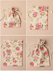 FLORAL ROSE PRINT DRAWSTRING LINEN GIFT BAGS 12 x 9cm CHRISTMAS PRESENT