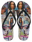 Emoji and Fashion Magazine Cover Print Black Comfort Flip Flop Thong Sandals