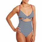 one piece bathing suits with cutouts - YMI Juniors Americana Navy Striped One-Piece Swimsuit With Cutouts S - M- L - XL