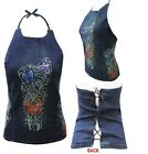 Womens Ladies Denim Top Floral Embroidered Dress Laces Blouse