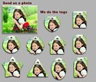 5 pack of Personalised  full colour Plastic photo Tags with Split Ring -Standard