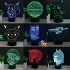 3D Night Light LED USB 7 Color Chang Acrylic Lamp Touch Table Desk Room Decor UK