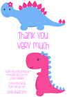 personalised photo paper card party birthday thank you notes GIRL DINOSAUR #1