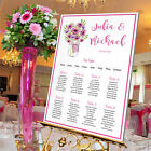 Personalised Wedding Table Seating Plan- PINK GERBERA -4 SIZE OPTIONS