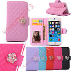 Bling Glitter Diamond Flip Leather Camellia Wallet Case Card Slot Stand Cover