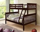 TWIN OVER FULL KID'S BUNK BED - SOLID WOOD - CAPPUCCINO - SHIPS FREE!