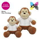 50 Blank Max Monkeys Soft Toys Plain White T-Shirt Transfer Sublimation Gifts