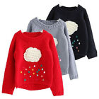 Kids Sweater Cartoon Cloud Long Sleeve Outerwear O-neck Kids Knitwear Warm Top