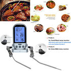 Wireless LCD Remote Dual 2 Probe Meat Thermometer Set For BBQ Smoker Grill Oven