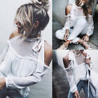 Fashion Women Ladies Loose Casual Long Sleeve T-Shirt Off Shoulder Blouse Tops