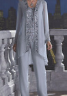 Zakira 3 Piece Beaded Duster Dress Pant Set Formal Wedding Mother of the Bride