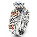Women 925 Sterling Silver Two Tone White Sapphire Topaz Flower Wedding Ring Set