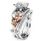 Flower 925 Sterling Silver & Rose Gold Filled White Sapphire Wedding Ring Set